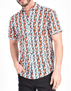 Colorful Parrot Print Shirt|Eight-x Luxury Short Sleeve