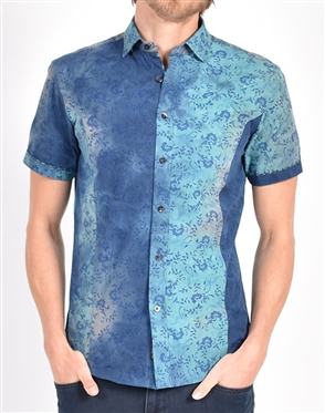 Tiger lily Watercolor Print Shirt|Eight-x Luxury Short Sleeve