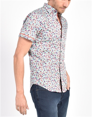 Spring Melody Floral Print Shirt|Eight-x Luxury Short Sleeve