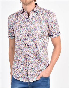 Rainbow Dot Print Shirt|Eight-x Luxury Short Sleeve