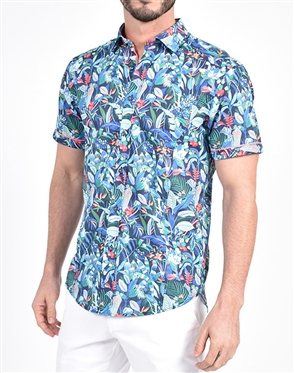 Brazilian Rain Forest Print shirt|Eight-x Luxury Short Sleeve
