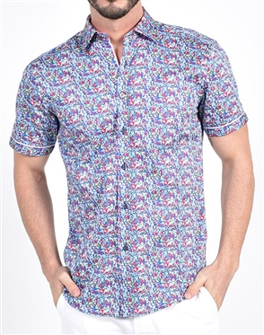 Blossom Melody Floral Print Shirt|Eight-x Luxury Short Sleeve