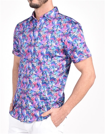 Flashback Multi-Color Print Shirt|Eight-x Luxury Short Sleeve