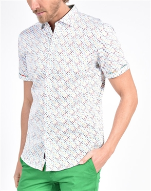 Rainbow Dot Hounds Tooth Print Shirt|Eight-x Luxury Short Sleeve