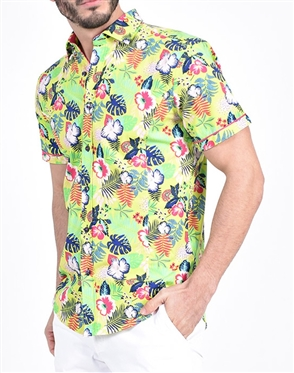 Lime green Hawaiian Print Shirt|Eight-x Luxury Short Sleeve