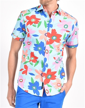 Coral Pop Art Print Shirt|Eight-x Luxury Short Sleeve