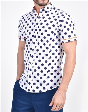 Jet Blue Polka Dot Print Shirt|Eight-x Luxury Short Sleeve