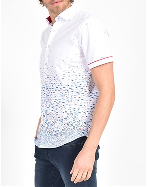 Fluttering Hummingbird and Flounder Print Shirt|Eight-x Luxury Short Sleeve