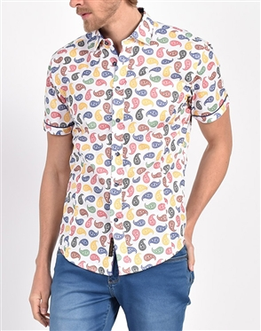 Mod Paisley Print Shirt|Eight-x Luxury Short Sleeve