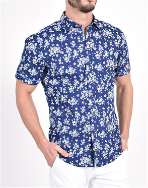 Valley Flower Patch Print Shirt|Eight-x Luxury Short Sleeve