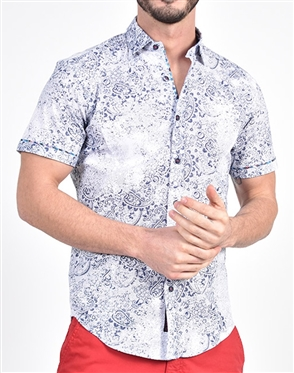 Blue Paisley Print Shirt|Eight-x Luxury Short Sleeve