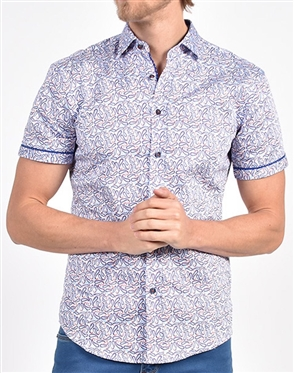 Blue Dancing Paisley Print Shirt|Eight-x Luxury Short Sleeve