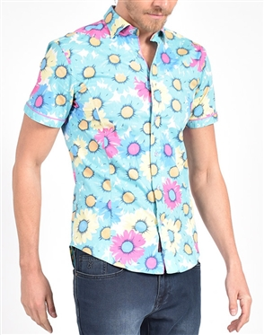 Gerbera Daisy Print Shirt|Eight-x Luxury Short Sleeve