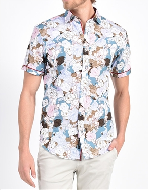Peony Illustration Print Shirt|Eight-x Luxury Short Sleeve