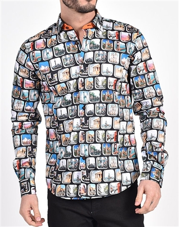 Travel Destination Print Shirt|Eight-x Luxury Long Sleeve Dress Shirt