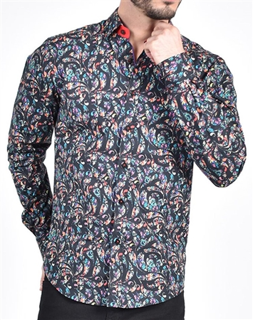 Colorful Paisley Print Shirt|Eight-x Luxury Long Sleeve