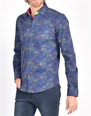 Translucent Leaf Print Shirt|Eight-x Luxury Long Sleeve Dress Shirt