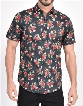 Vintage Rose Print Shirt|Eight-x Luxury Short Sleeve