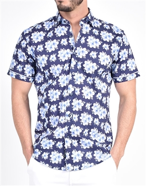 Periwinkle Blossom Print Shirt|Eight-x Luxury Short Sleeve
