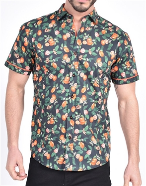 Tangelo Melody Print Shirt|Eight-x Luxury Short Sleeve