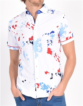 Red and Blue Ink Spot Print Shirt|Eight-x Luxury Short Sleeve