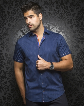 Luxury Short Sleeve Dress Shirt:  Maldini Navy