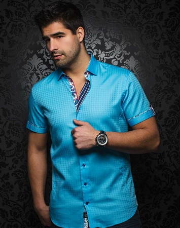 Sporty Turquoise Short Sleeve Woven