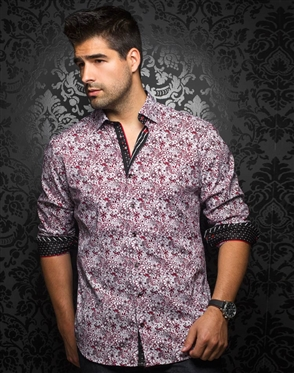 Designer Dress Shirt: Manila Floral Red