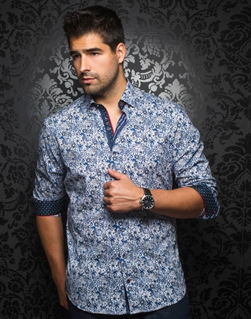 Designer Dress Shirt: Manila Floral Royal