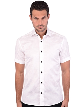 Suave White Camouflage Cotton Shirt