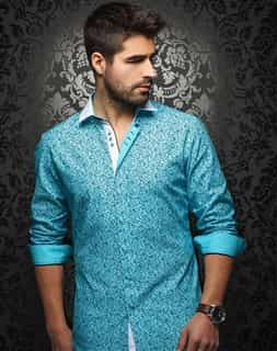 Designer Shirt: Men Turquoise Dress Shirt