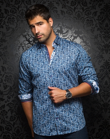 Designer Mens Dress shirt - Marselais Blue