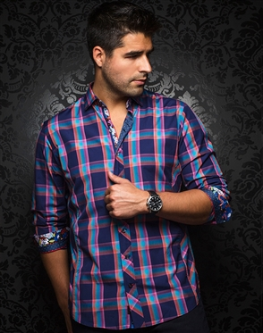 Contemporary Dress Shirt- Medicci Navy Multi