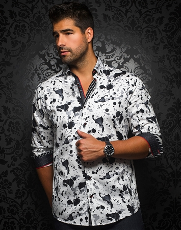 Designer Dress Shirt: Mendoza White Black