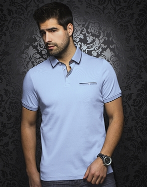 Au Noir Polo | Mercury Light Blue