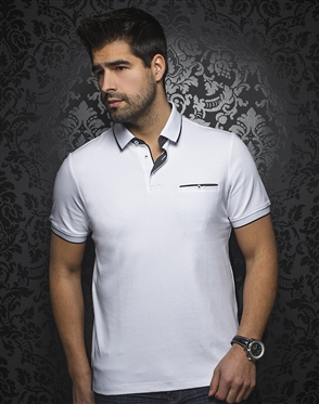 Au Noir Polo | Mercury White