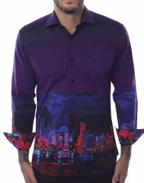 Unique Dressshirt - Purple Cityscape