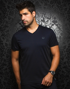 Sporty V-Neck Shirt - Navy T-Shirt
