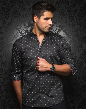 Designer Knit Dress Shirt: Milos Black