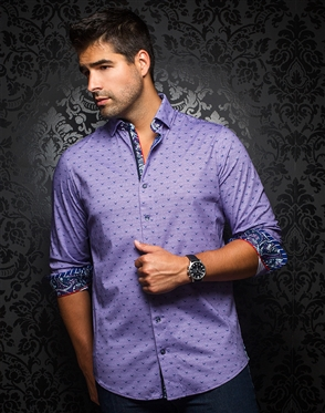 Designer Knit Dress Shirt: Milos Lavender