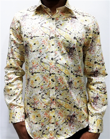 Amazing New Dress Shirt - Yellow Paint Splatter Digital Print
