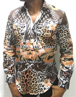 Interesting Animal Print Dress Shirt