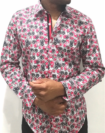 Pink Charcoal Swirl Dot Dress Shirt