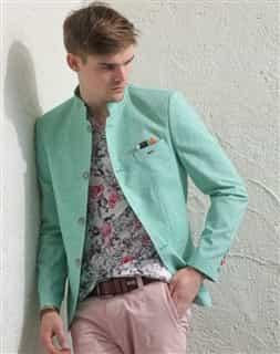 Men Sport Jacket: Green Linen