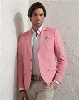 Men Sport Jacket: Salmon Linen