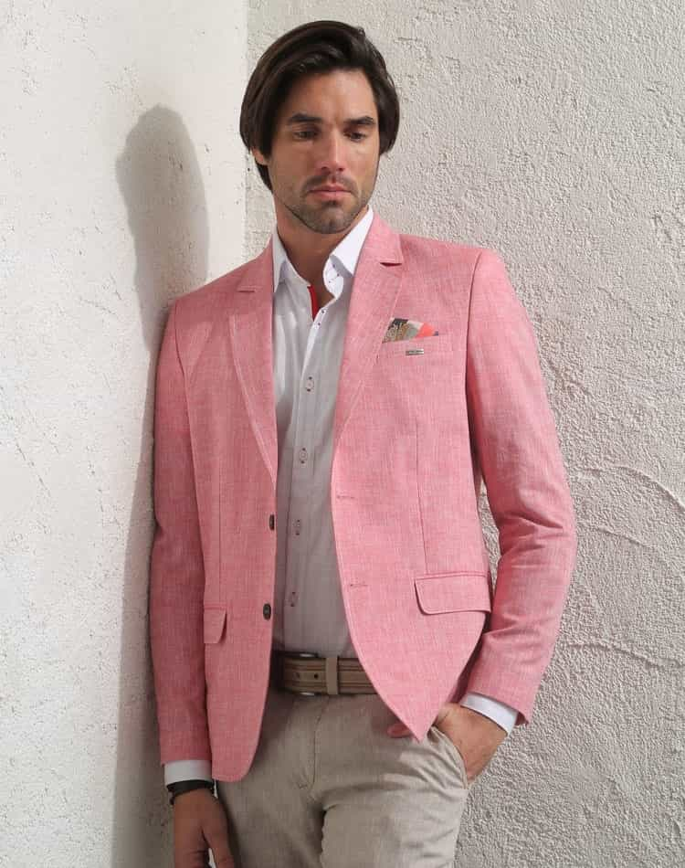 Shop Men Linen Sport Coat Salmon Pink Jacket Free