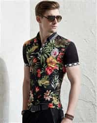 Men floral polo shirt