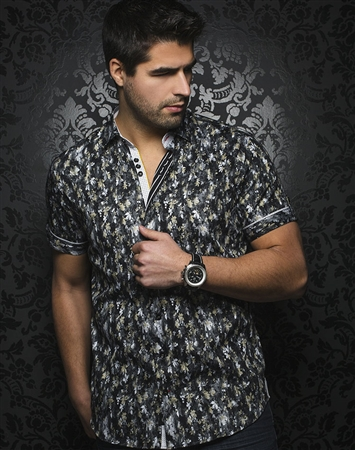 Unique Black Short Sleeve Button Down