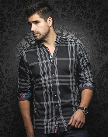Men's Fashion Shirt:  Monteverde Black White