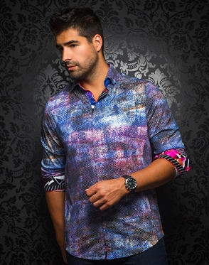 Designer Knit Dress Shirt: Morelos K Blue Multi